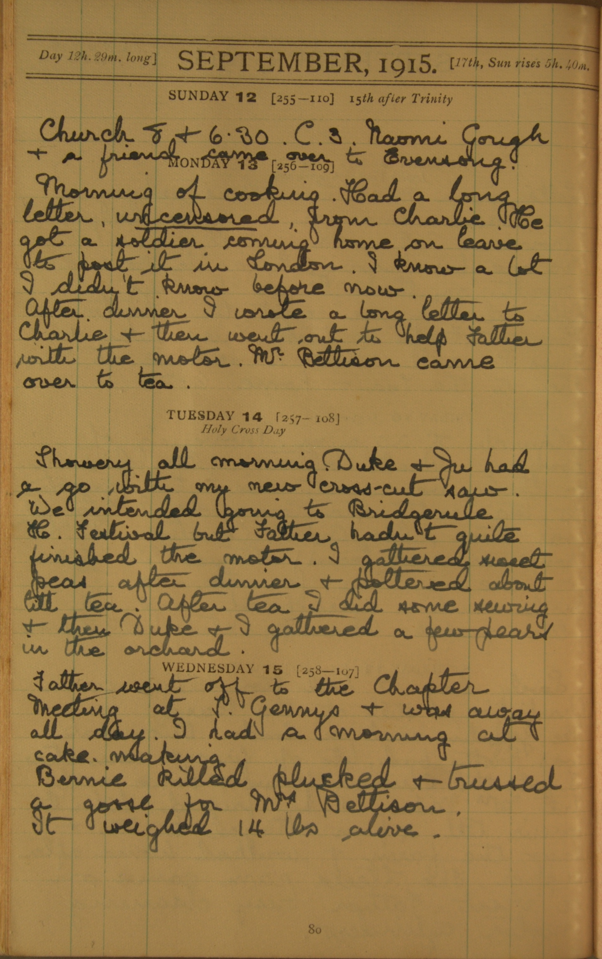 Entry from 13th September 1915, reads 'Morning of cooking. Had a long letter, uncensored, from Charlie. He got a soldier coming home on leave to post it in London. I know a lot I didn't know before now. ...'