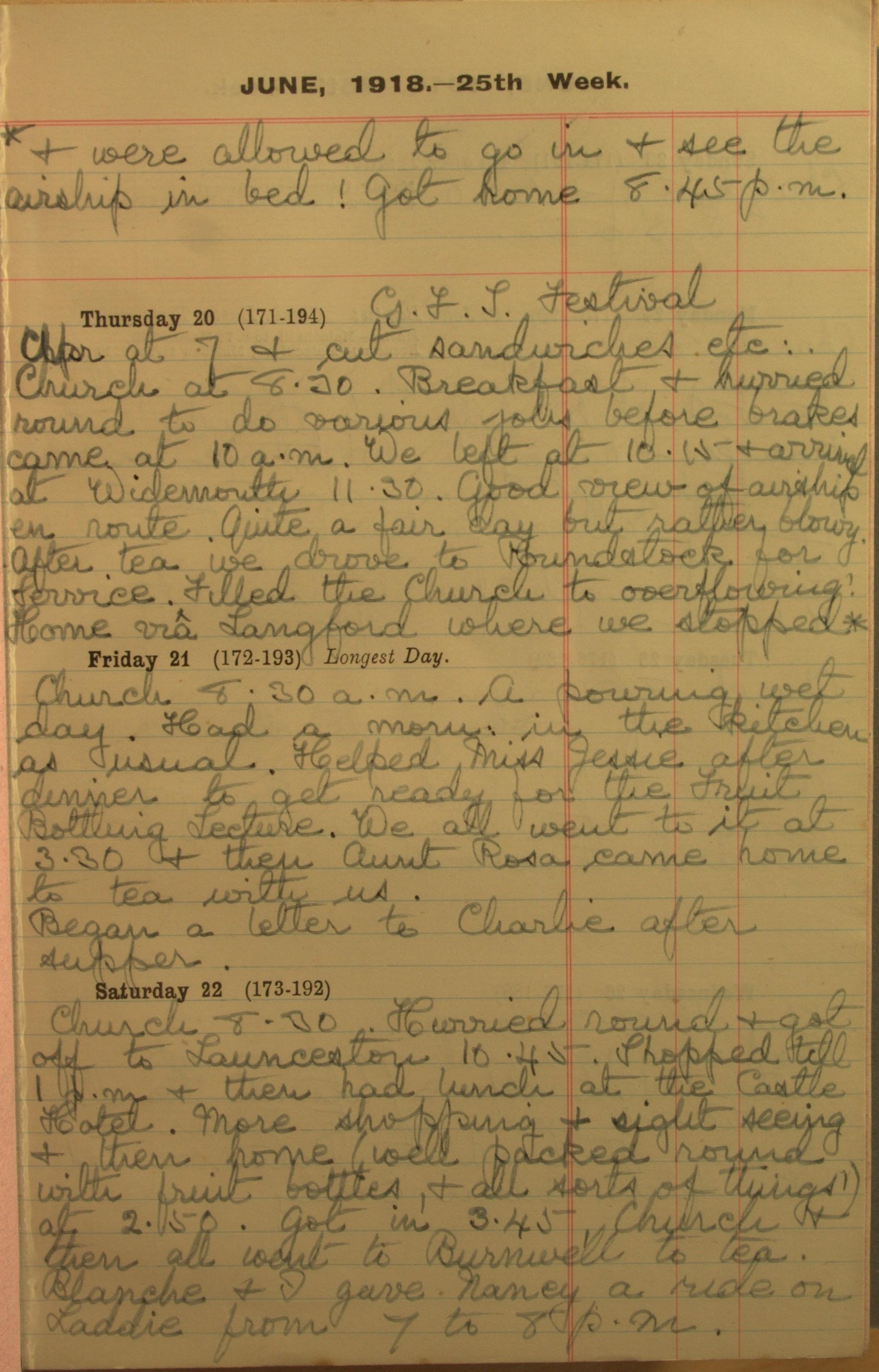 Entry 21st June 1918: Translation: '… Began a letter to Charlie after supper.'