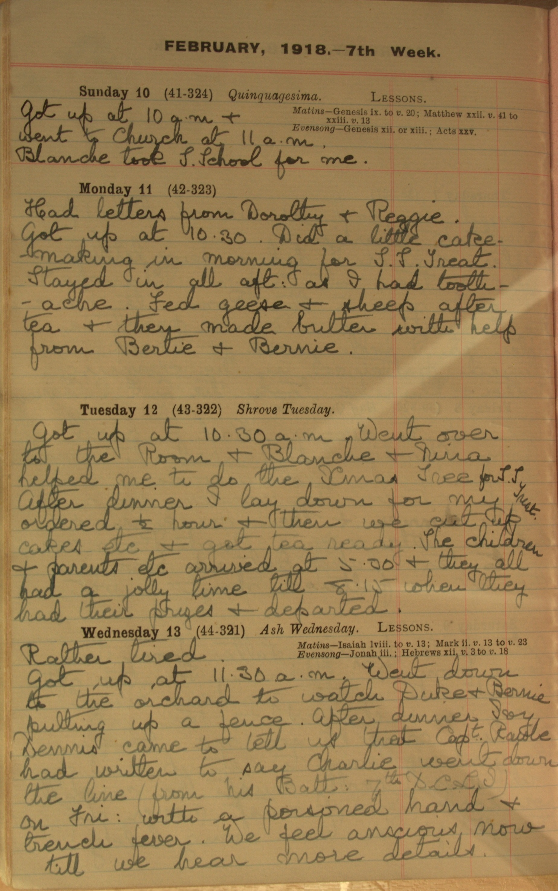 Entry: 13th February 1918: Translation: ' … Dennis came to tell us that Capt[ain] Rawle had written to say Charlie went down the line (from his Batt[alion] 7th DCLI) on Fri[day]: with a poisoned hand + trench fever. We feel anxious now till we hear more details.'
