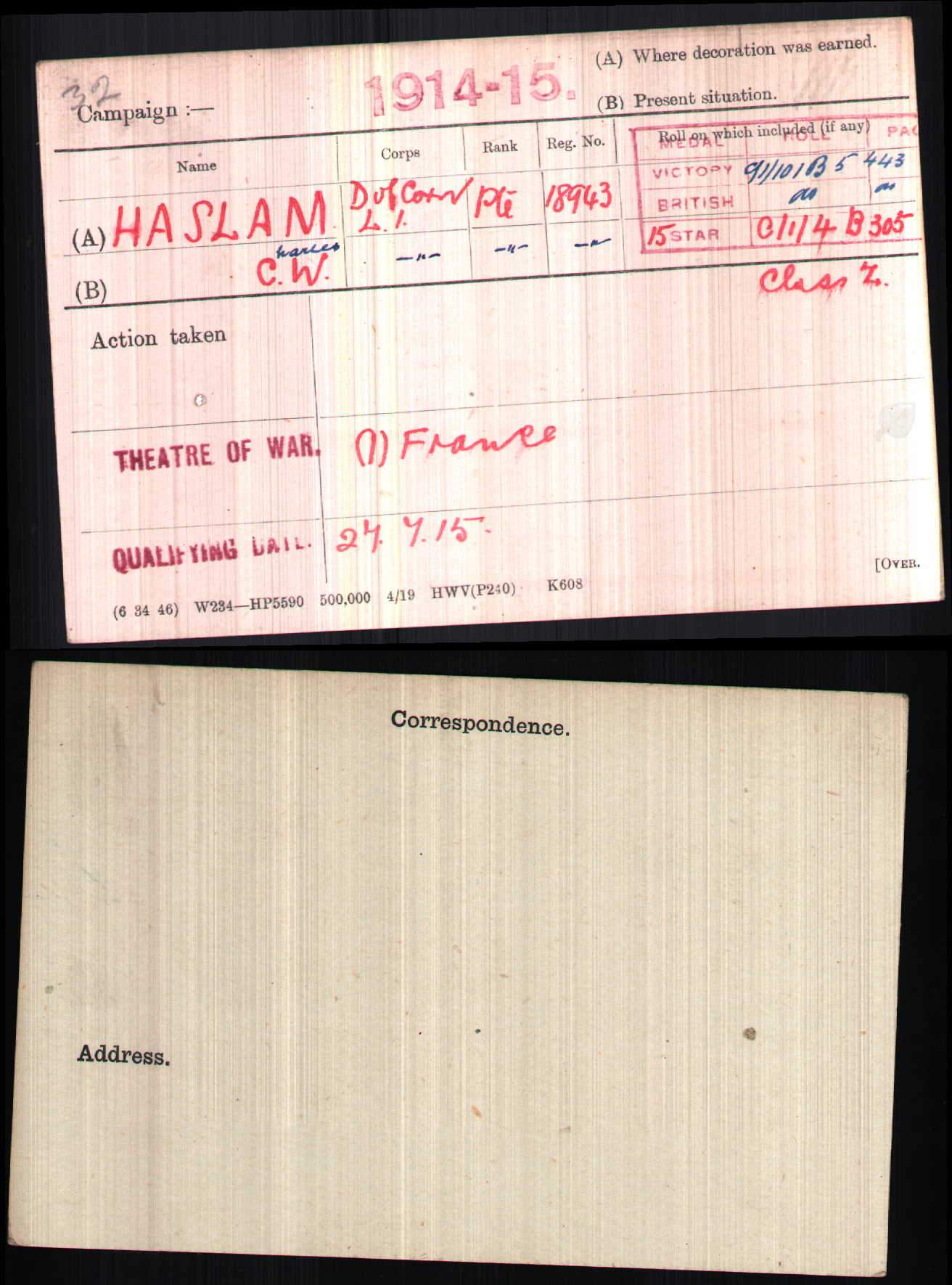 Handwritten copy of Charles W. Haslam's medal record card.