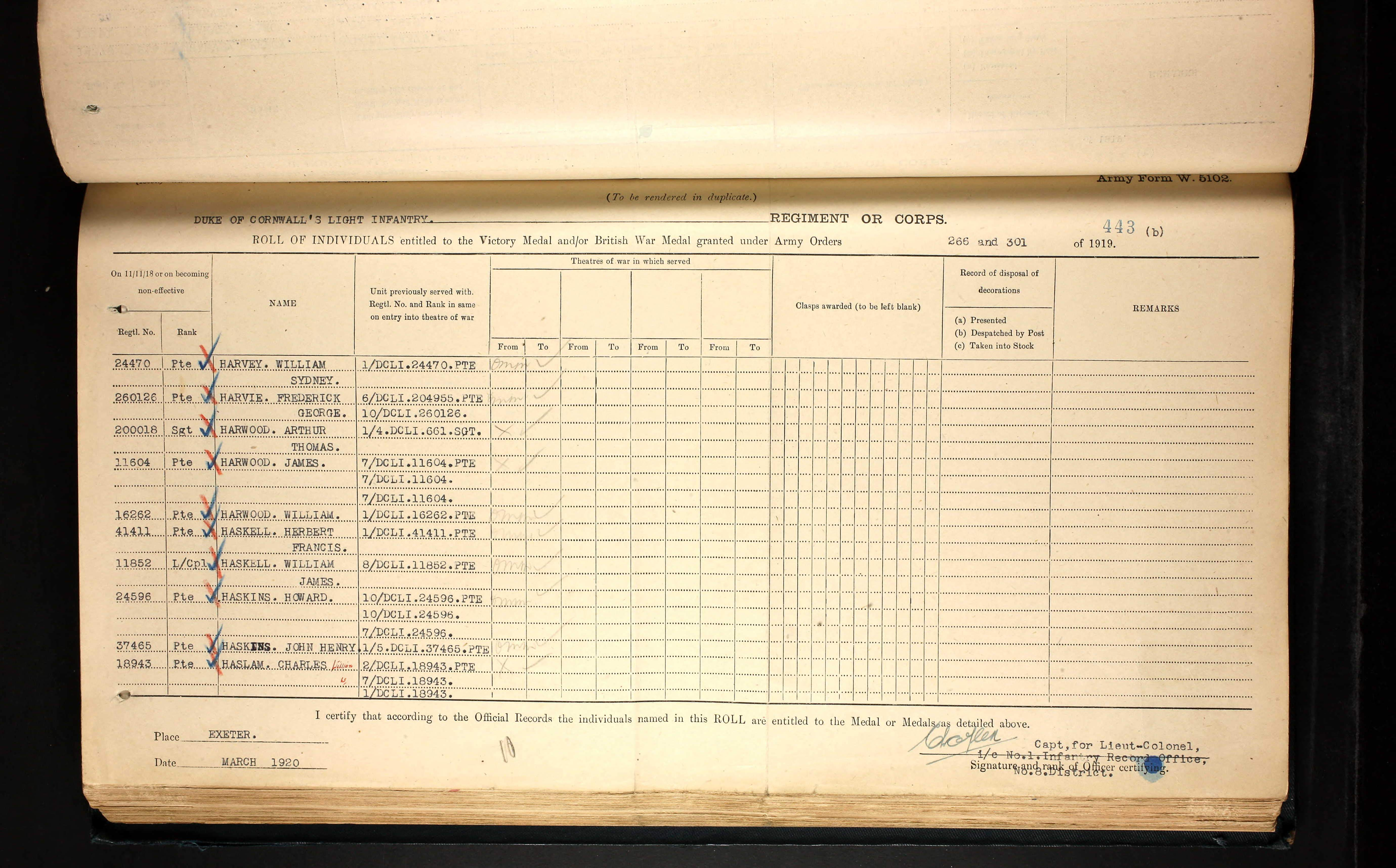 Charles W. Haslam, Medal Roll Records March 1920. Partial List of Individuals entitled to the Victory Medal and/or the British War Medal granted under Army Orders. This document lists the battalions that Charlie served with.