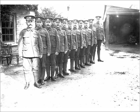 Photograph of Duke of Cornwall's Light Infantry sergeants standing in a line. Photographer: Arthur William Jordan.