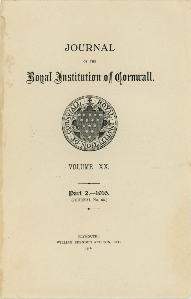 The front page of the 1916 issue of the Journal of the Royal Institution of Cornwall.