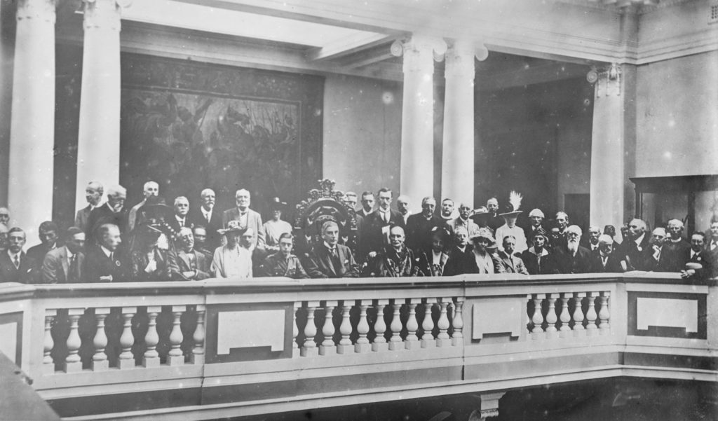 Group photograph taken at the opening ceremony of the museum. The Prince of Wales sits to the left of the centre, wearing the uniform of Commander in Chief of the Duke of Cornwall's Light Infantry.