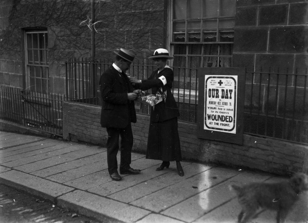 British Red Cross Our Day collection on Lemon Street, Truro. Fundraising was of vital importance throughout the First World War. By the end of the war, £21,885,035 had been raised and £20,058,355 spent on hospitals, medicine, clothing, grants and aftercare.